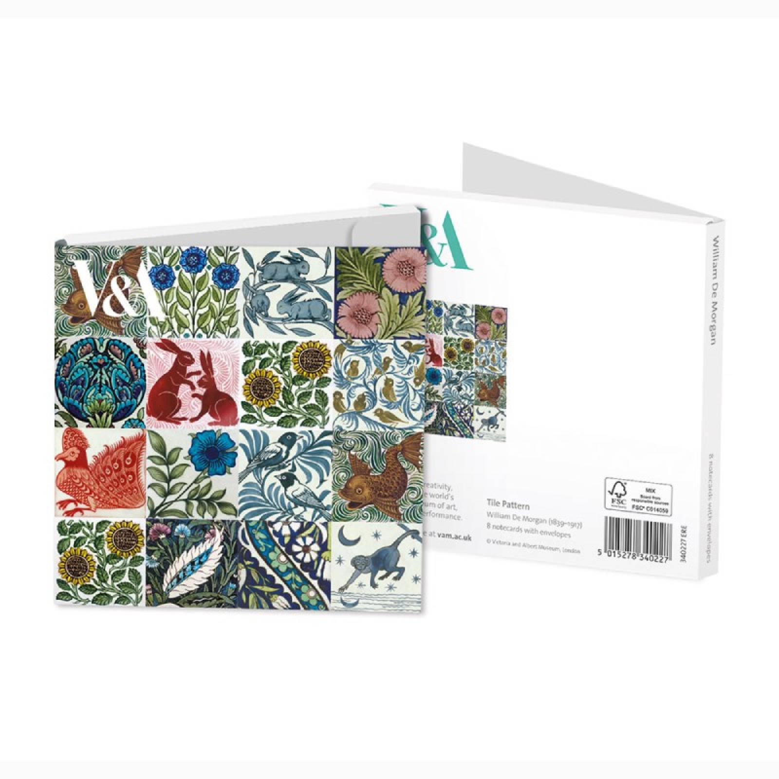 William De Morgan Tiles - Pack Of 8 Notecards And Envelopes