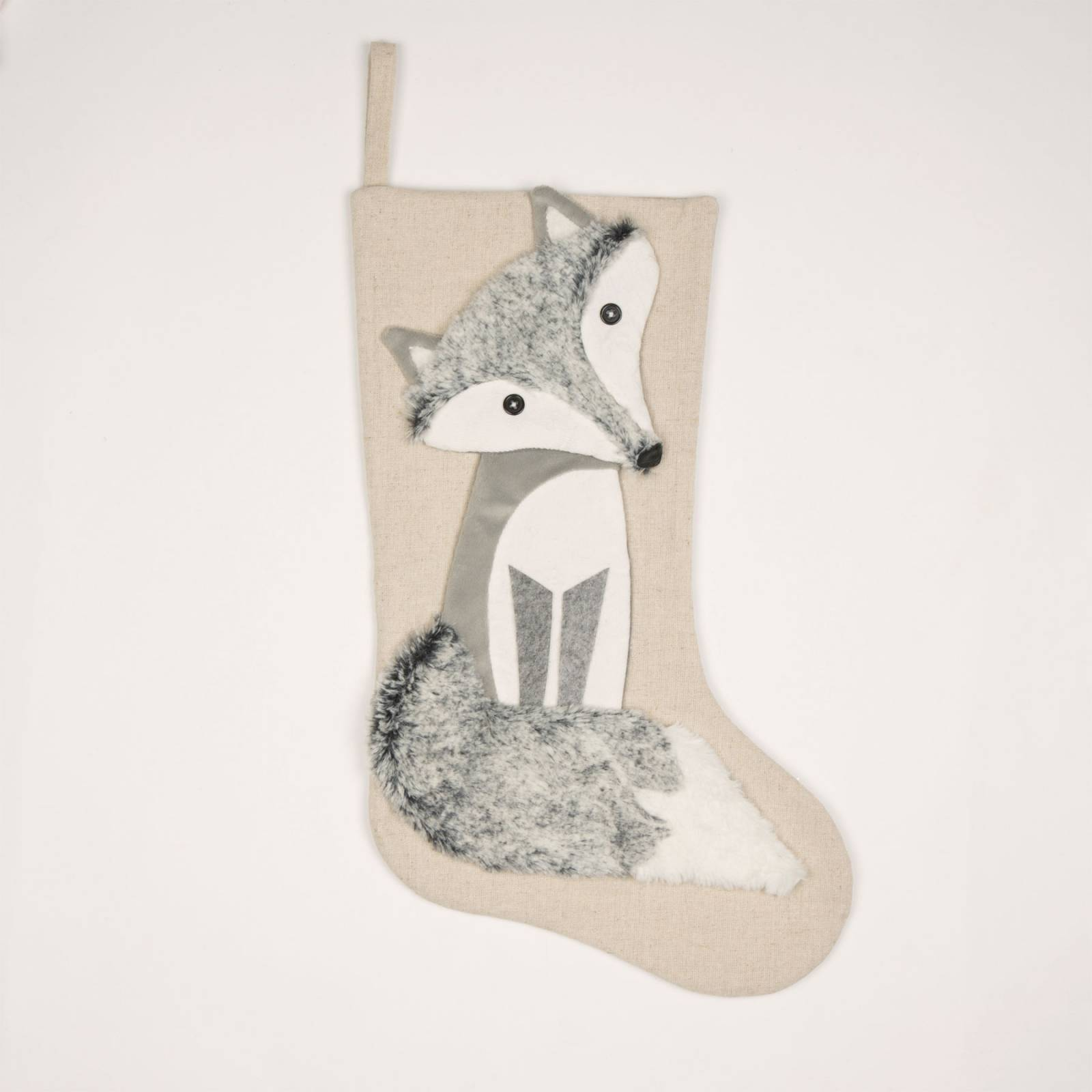 Winter Grey Fox Christmas Stocking