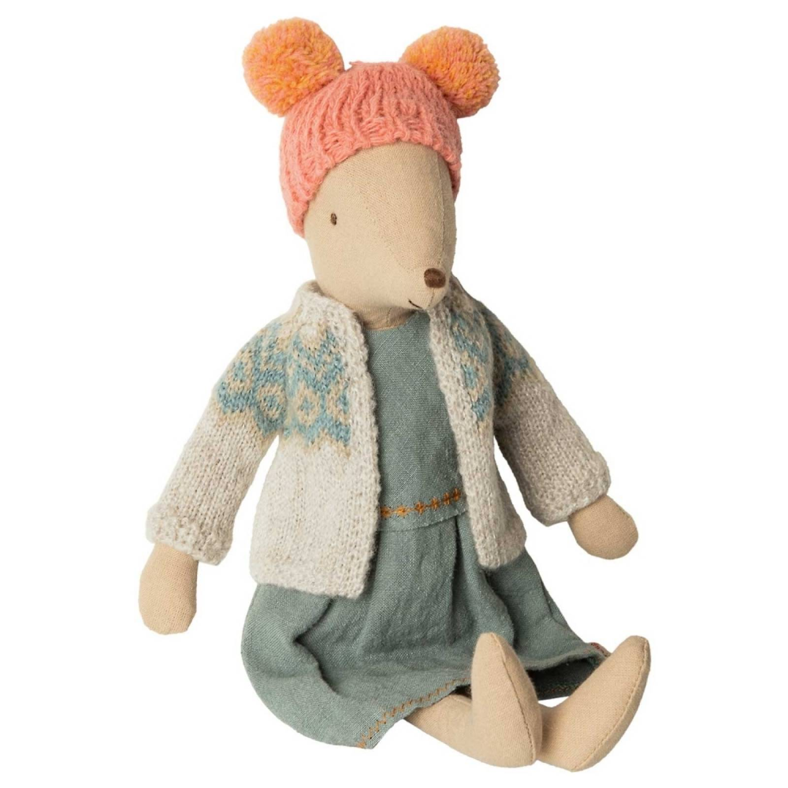 Winter Girl Mouse in Cardigan By Maileg