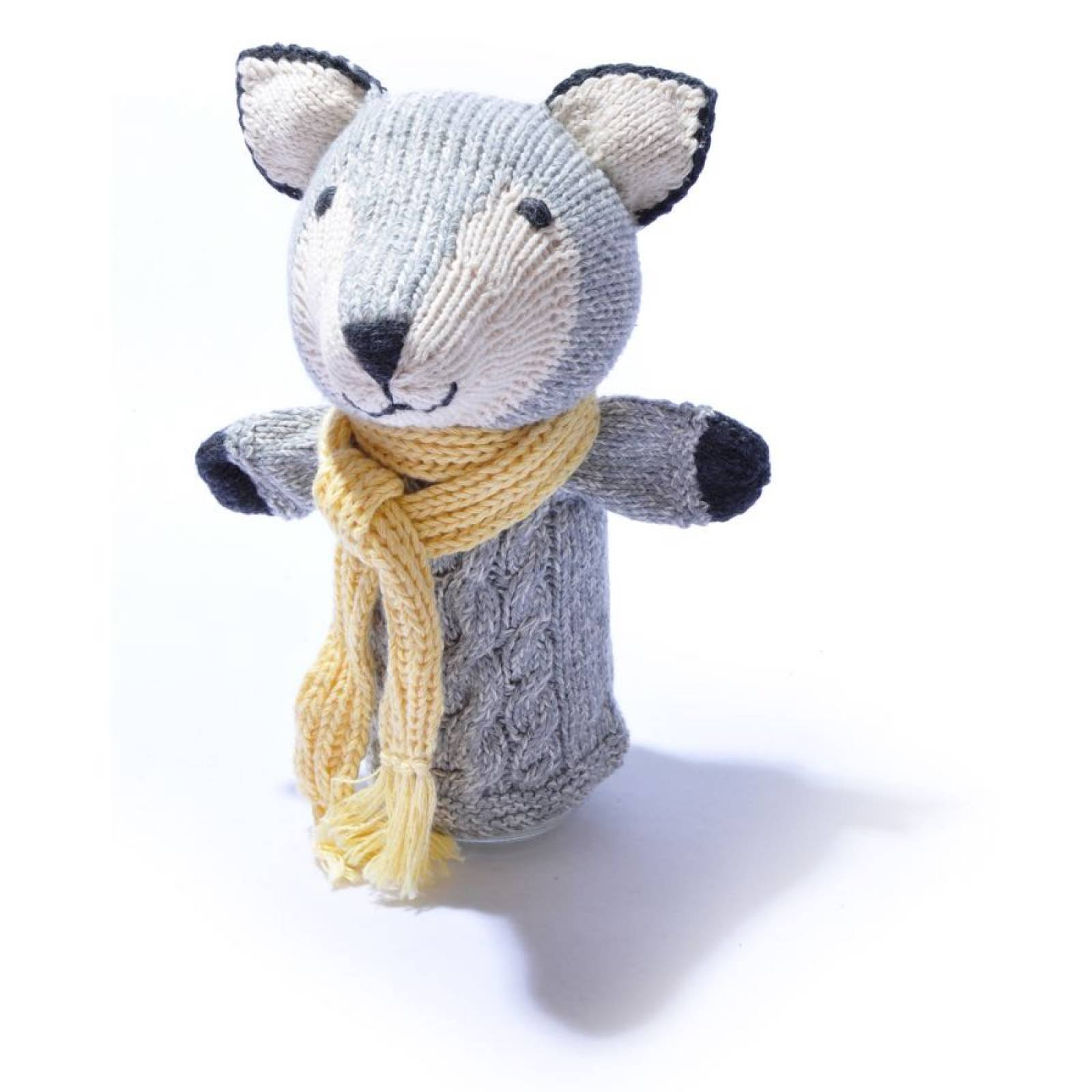 Wolf - Hand Knitted Glove Puppet Organic Cotton