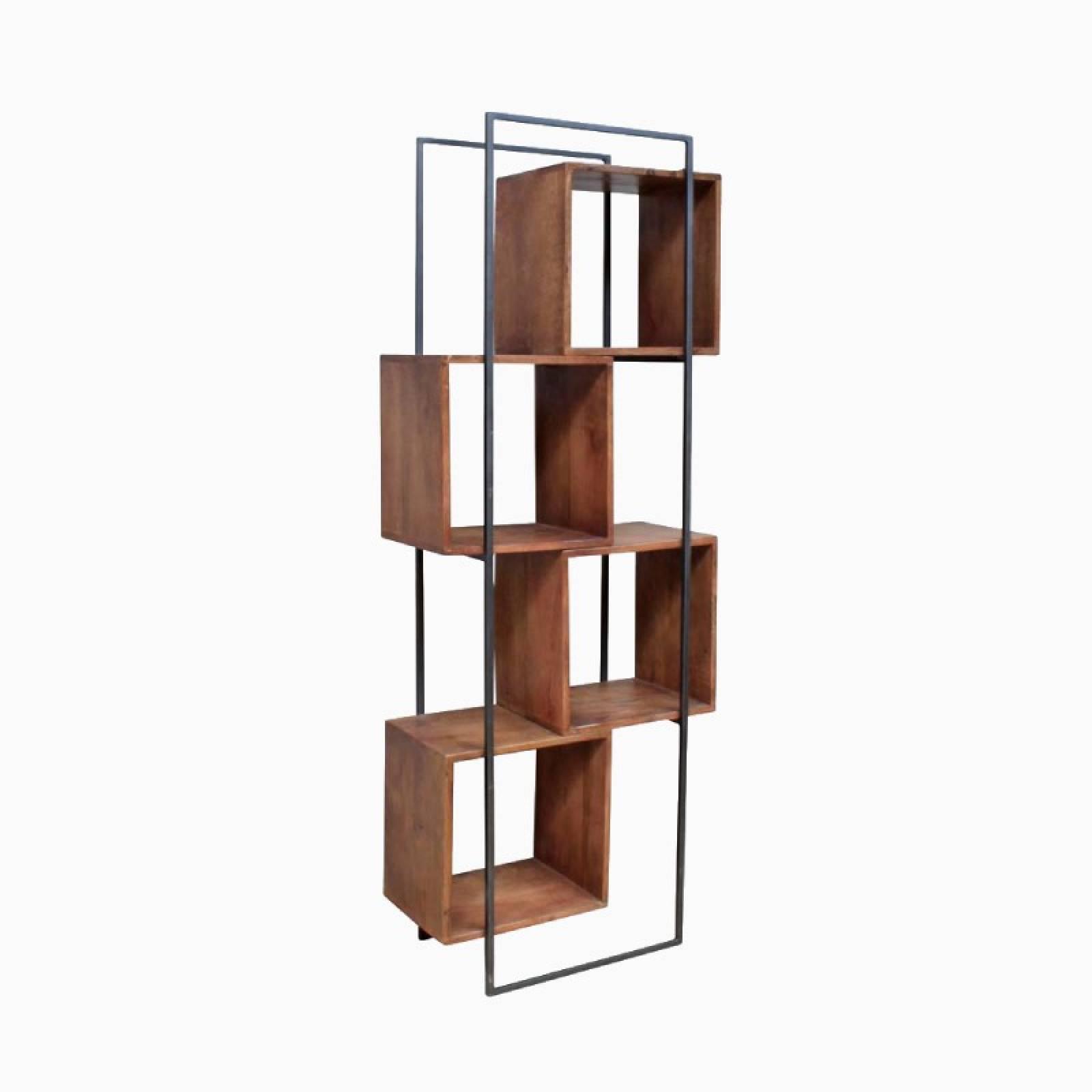 Wood & Metal Offset Quadrant Tall Shelving Unit