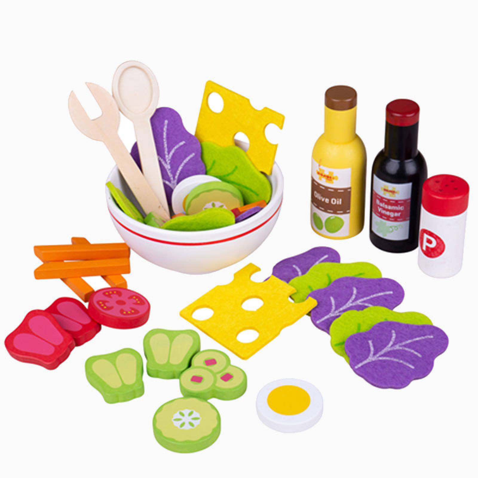 Wooden And Felt Salad Set By Bigjigs 3+