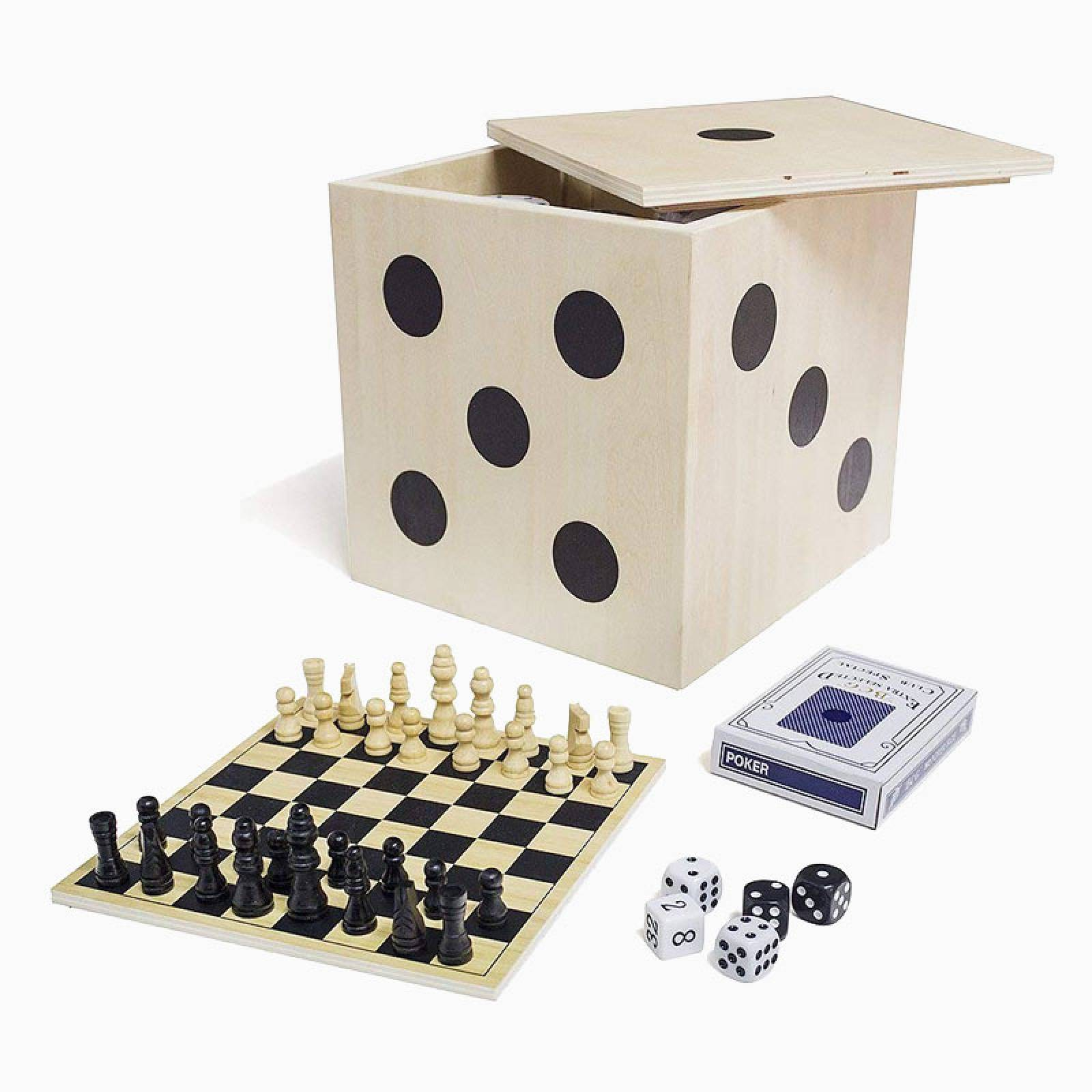 Wooden Desktop 6 In 1 Game Set In Wooden Dice Box