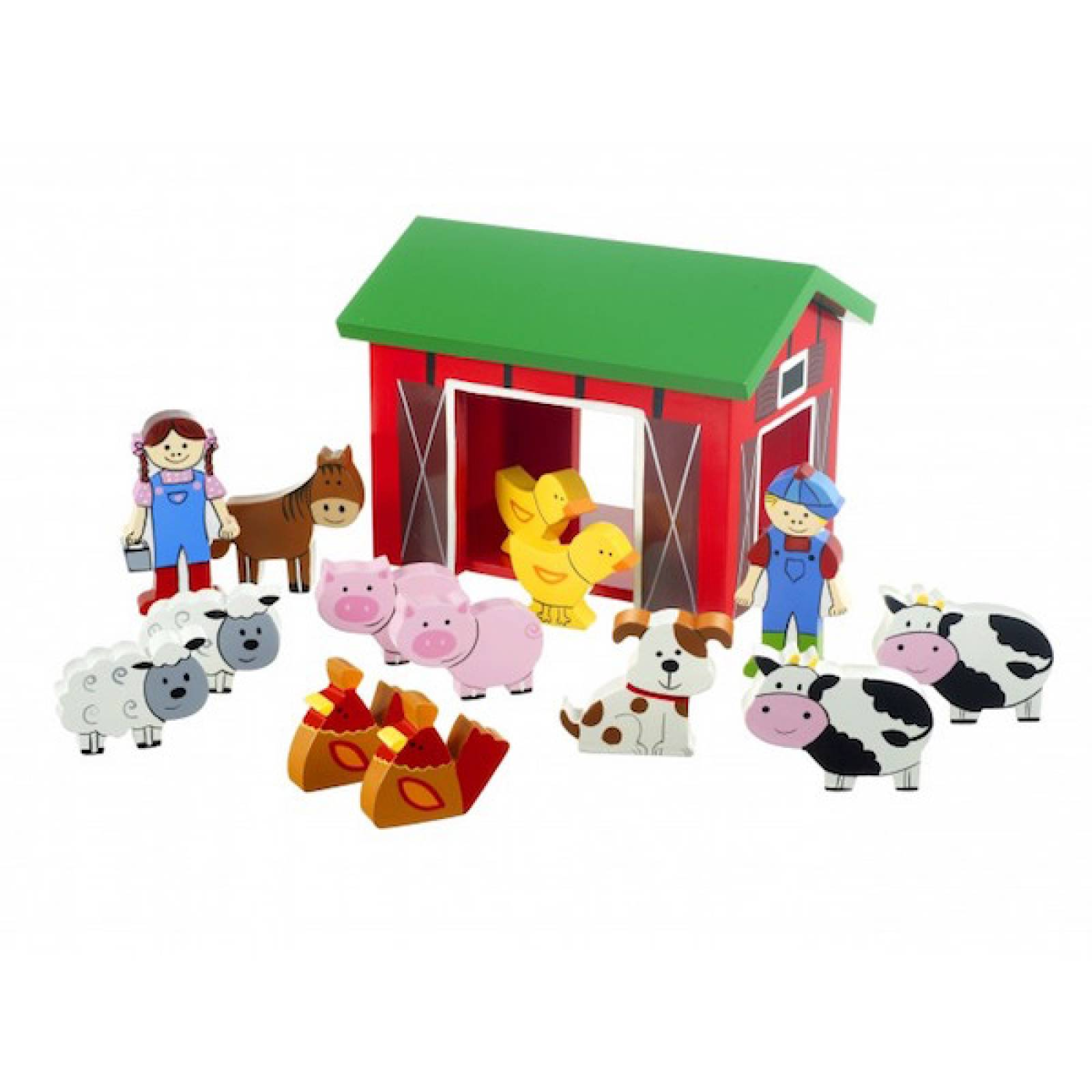 Wooden Farm Yard Play Set With Barn And Animals 1+ thumbnails