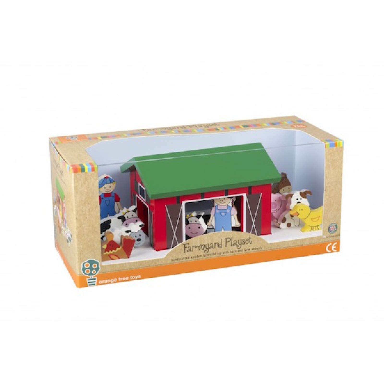 Wooden Farm Yard Play Set With Barn And Animals 1+