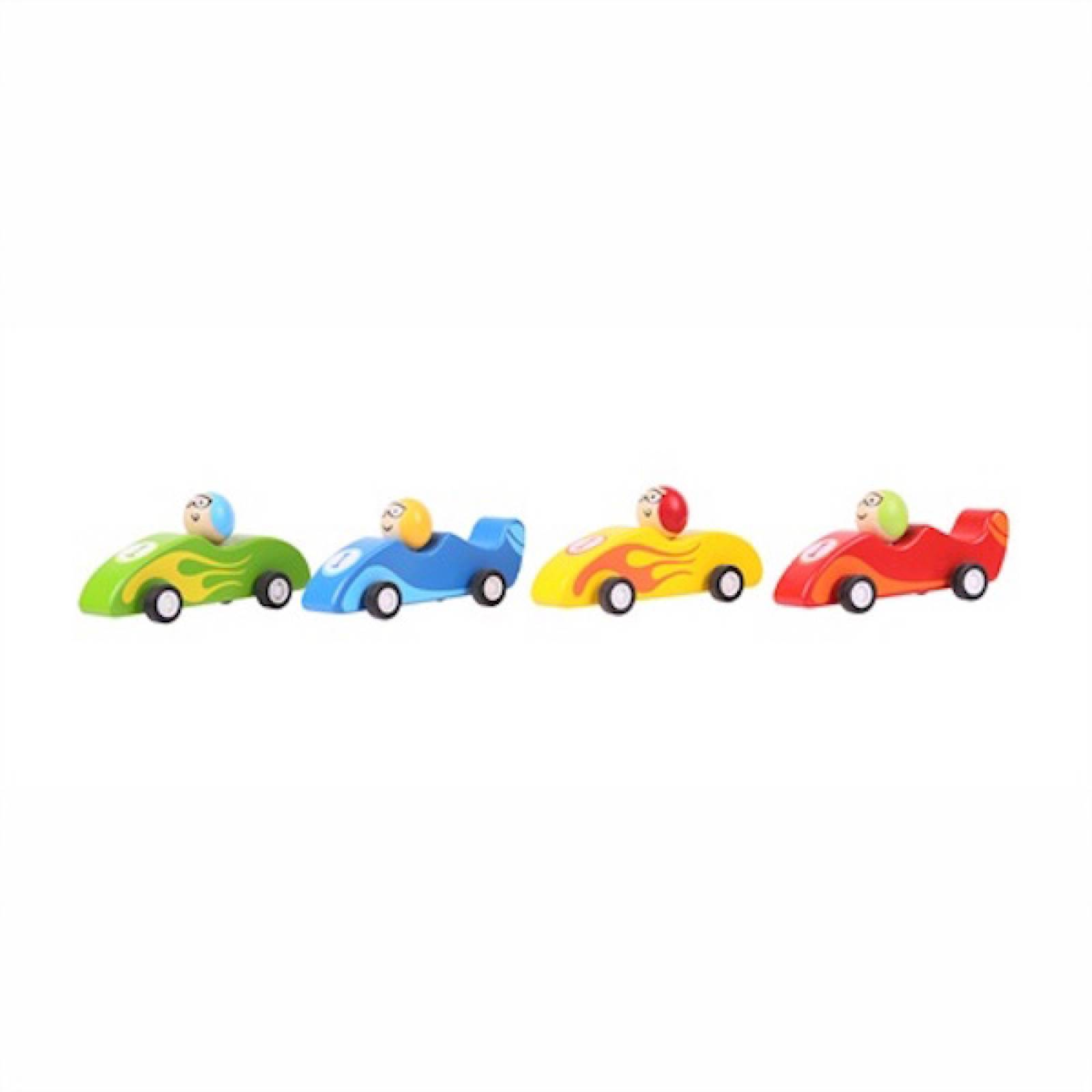 Wooden Pull Back Hot Rod Racing Car 2+
