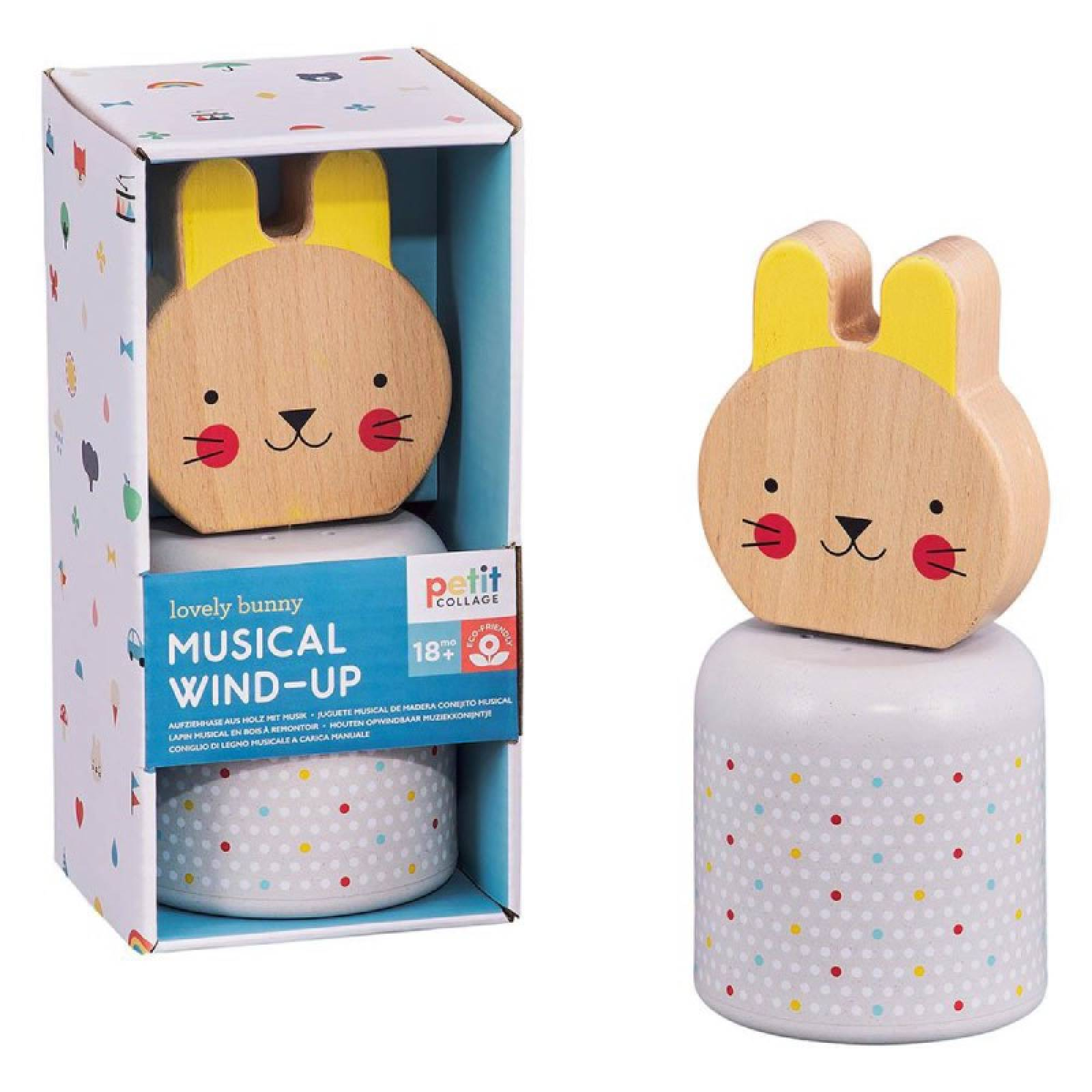 Wooden Wind-Up Musical Bunny Toy 18m+