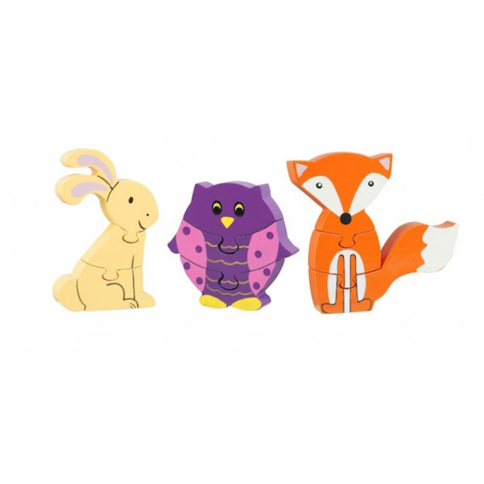 Woodland Mini Puzzles - Set Of 3 Wooden Puzzles 1+