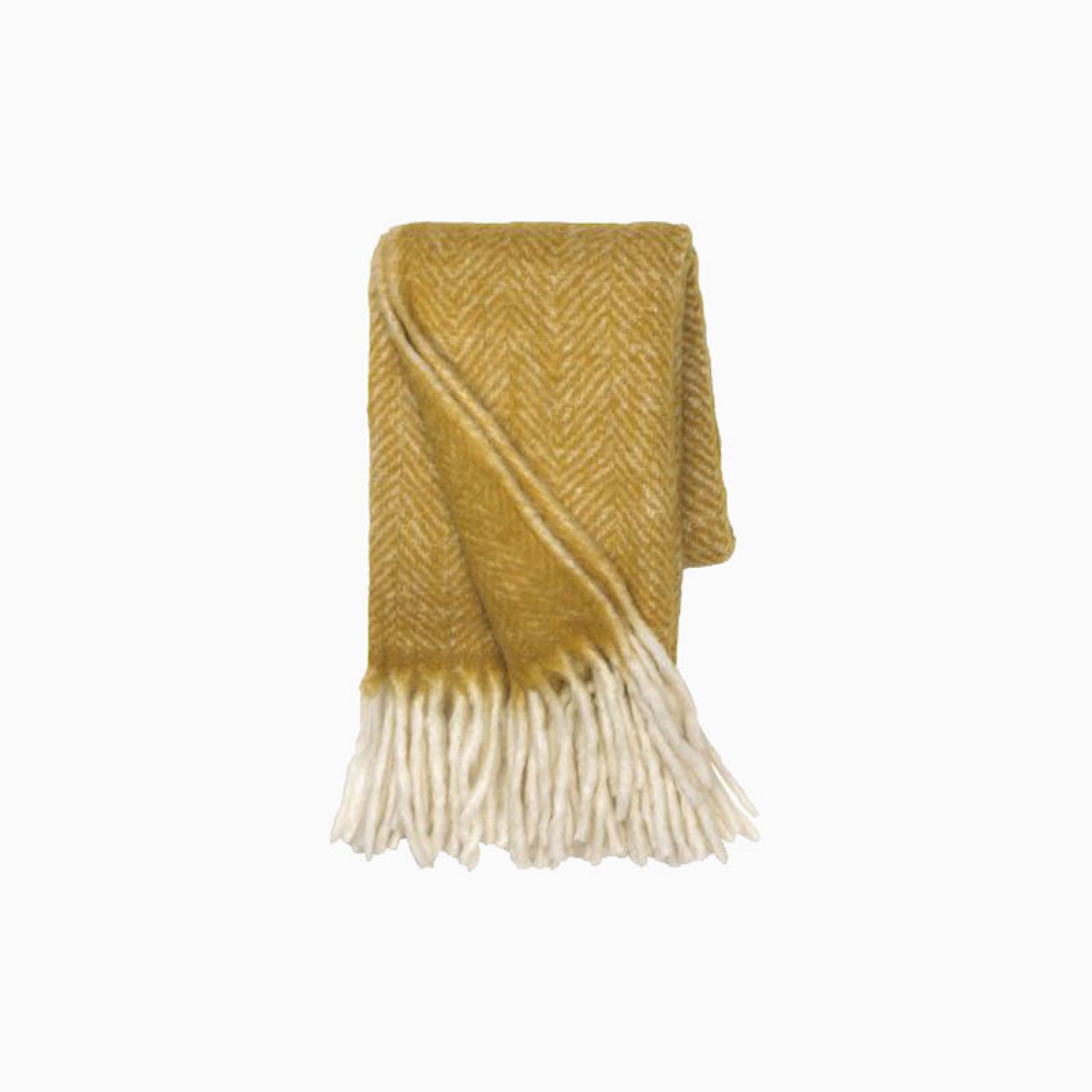 Wool Blanket With Fringing In Yellow