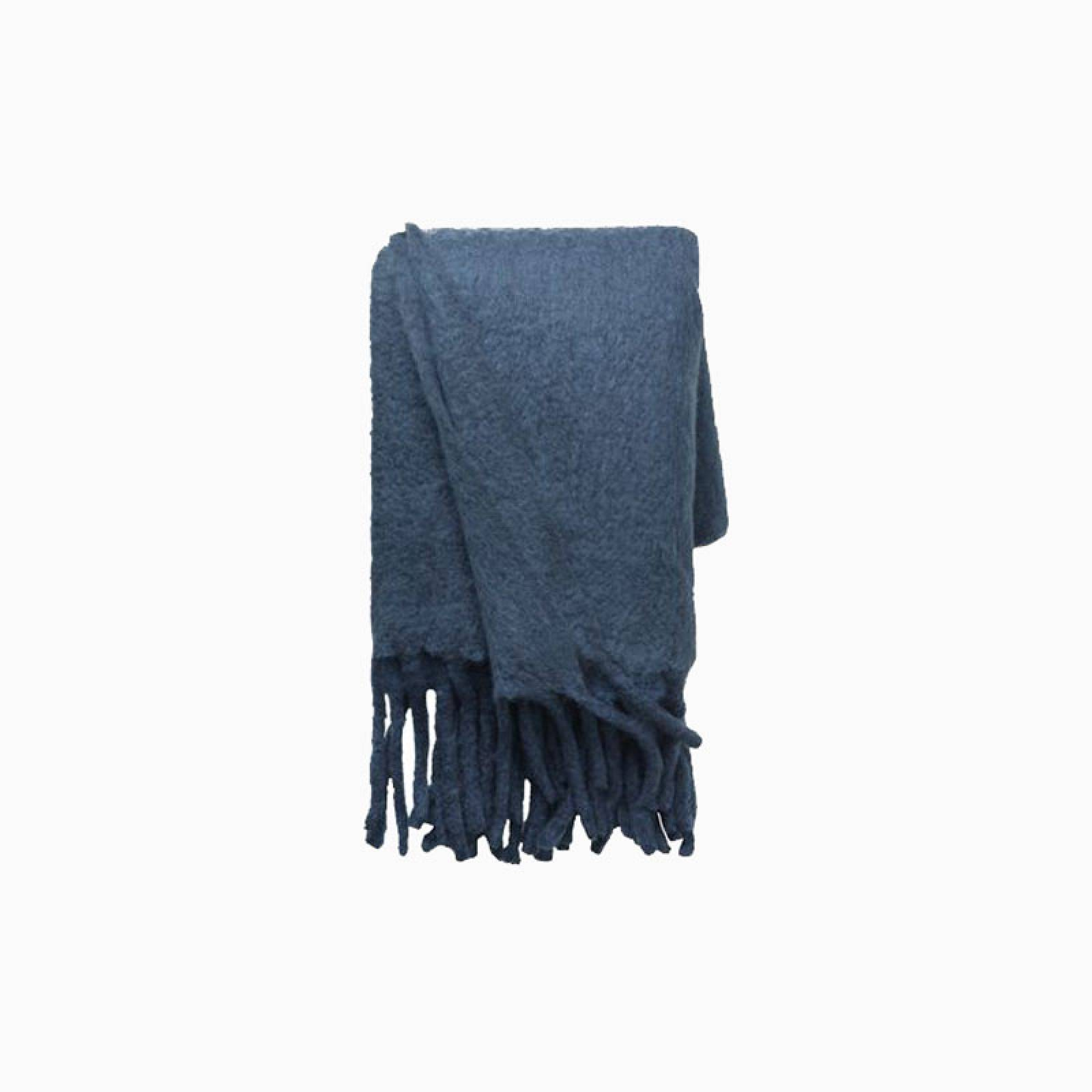 Wool Blanket With Fringing In Royal Blue