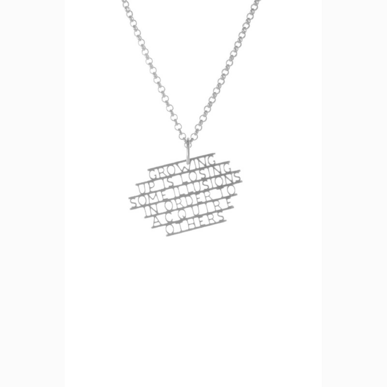 Virginia Woolf - Illusions Silver Quote Necklace By Ordbord thumbnails