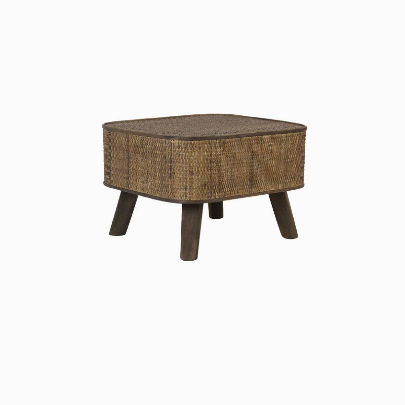 Canya Rectangular Woven Cane Side Table In Dark