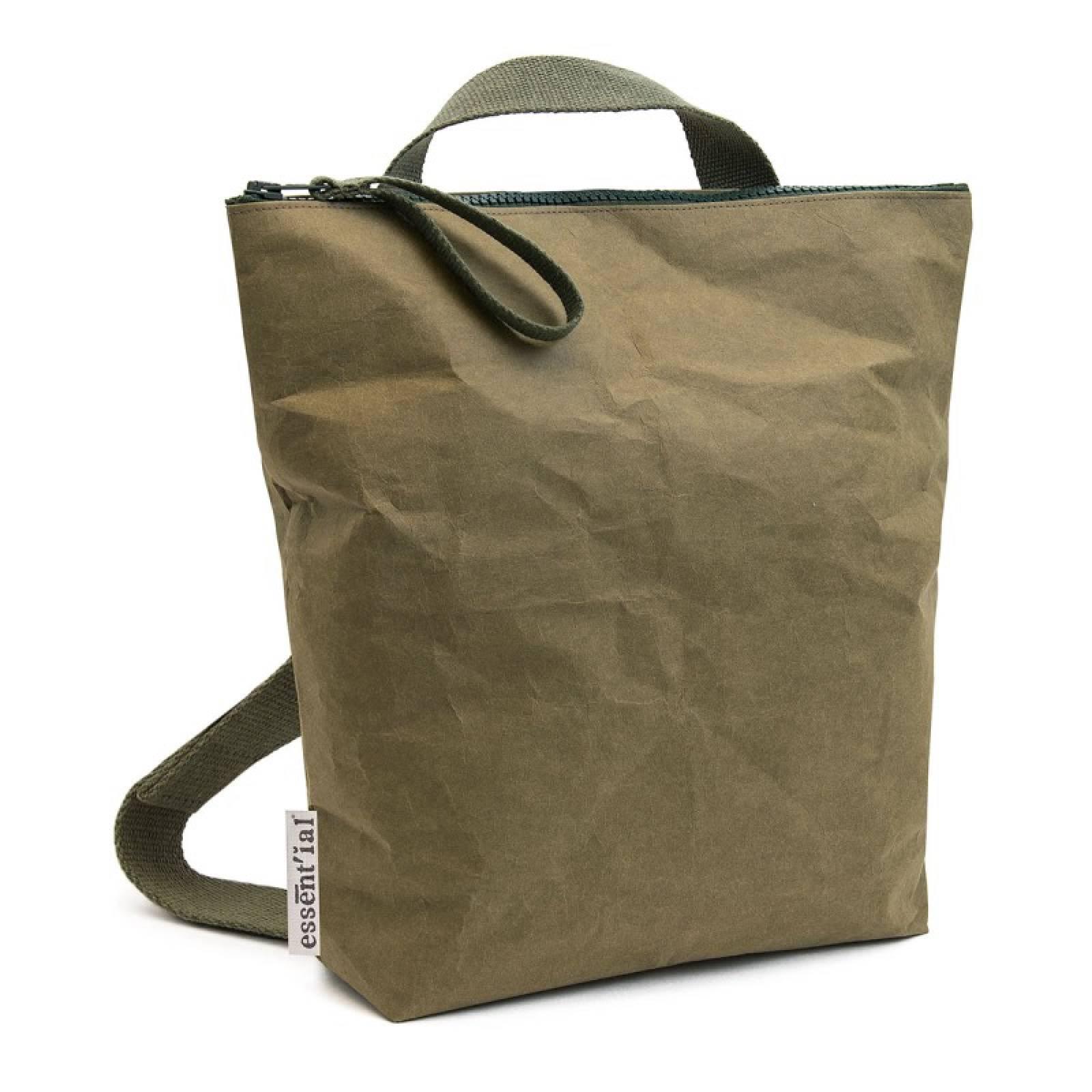XL Paper Backpack With Zip Top Closure In Dark Green