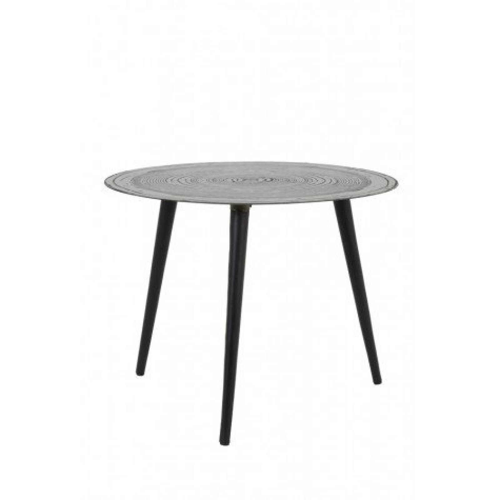 Trunk Circular Side Table In Matt Silver And Black 50x39