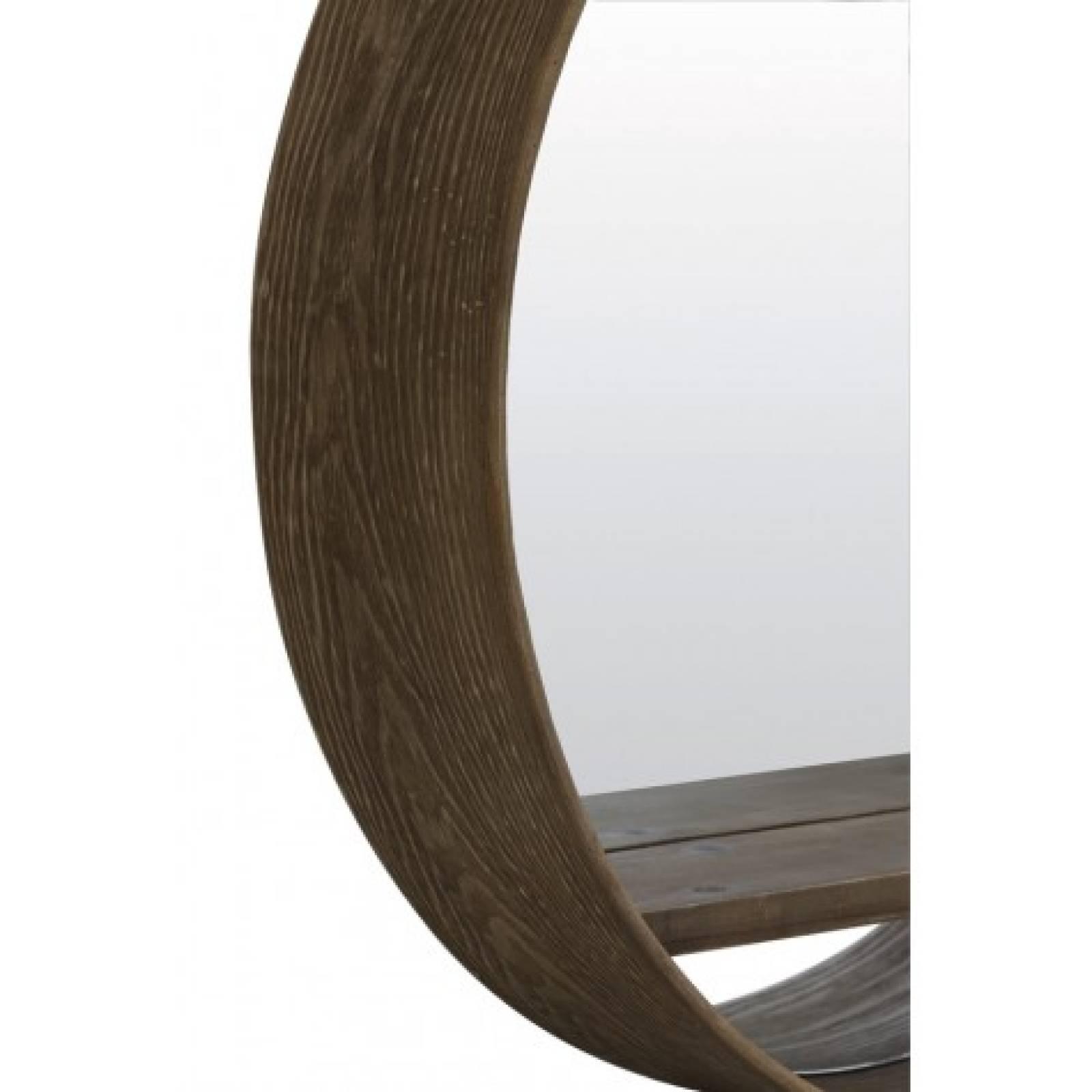Round Dark Wood Mirror With Shelf thumbnails