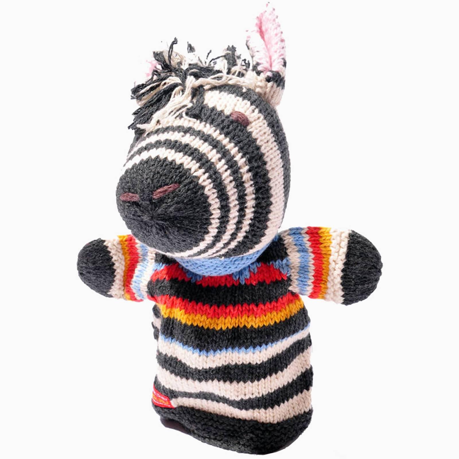 Zebra - Hand Knitted Glove Puppet Organic Cotton