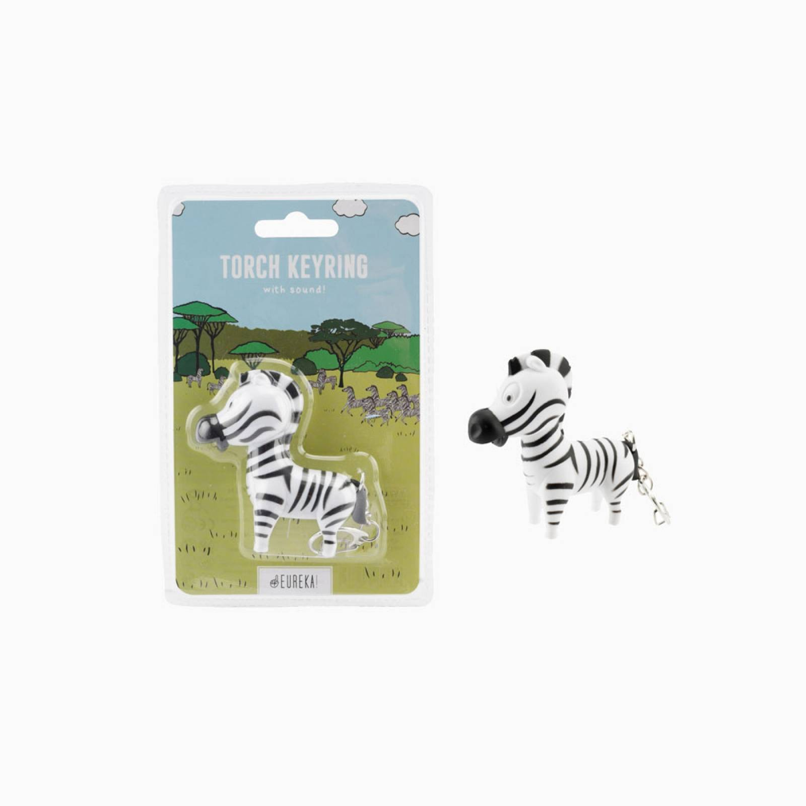 Zebra Keyring With Torch And Sound