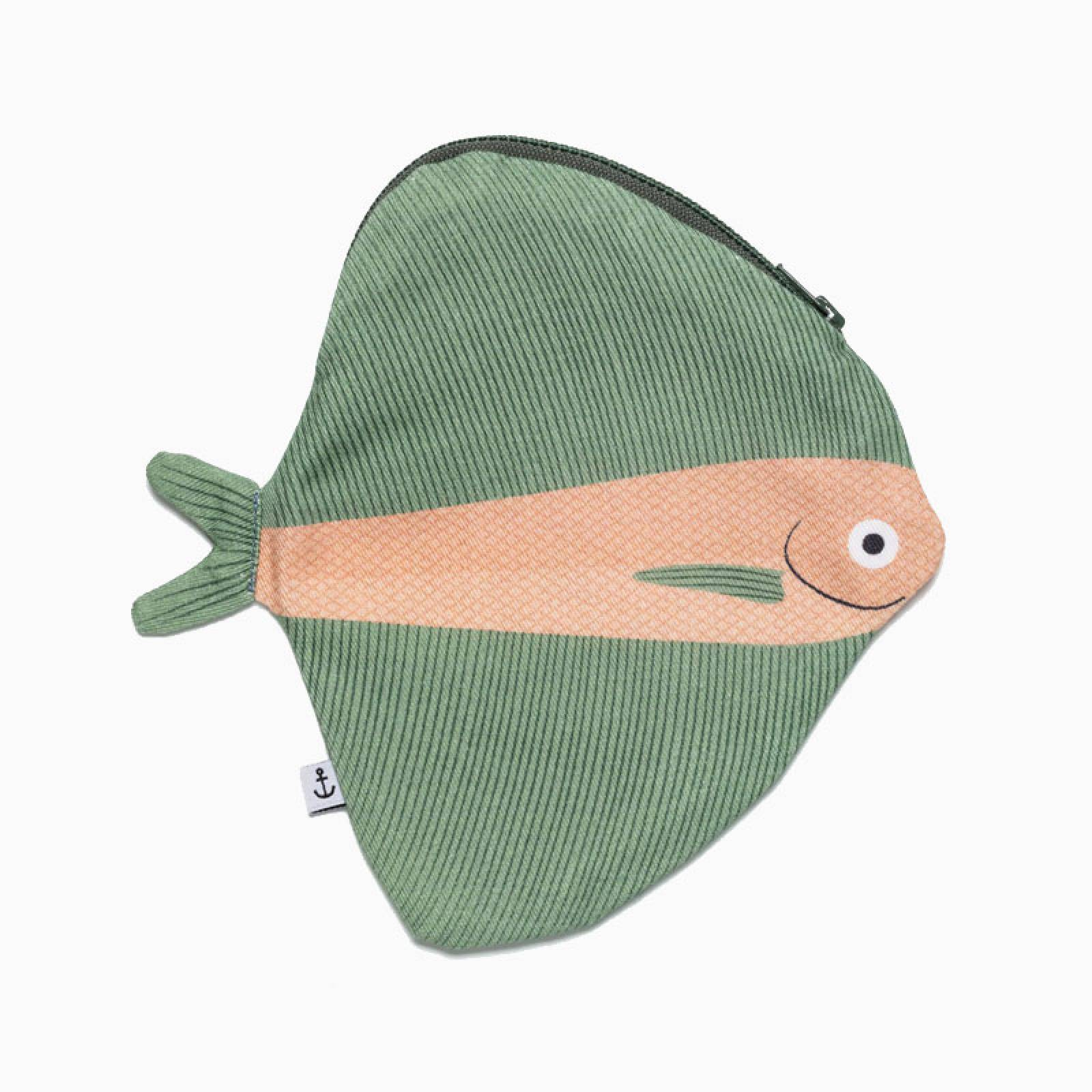 Zipped Fish Pouch By Don Fisher - Green Fanfish