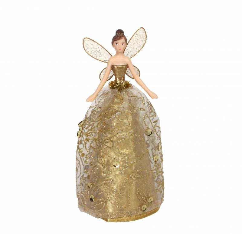 Gisela Graham Christmas Tree Topper: Small Gold Fairy Christmas Tree Topper By Gisela Graham
