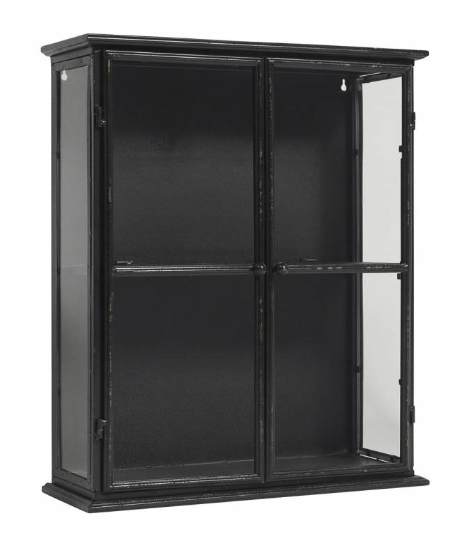 Metal Black Kitchen Cabinets: Small Black Glazed Metal Wall Cabinet With Glass 50x20x60cm