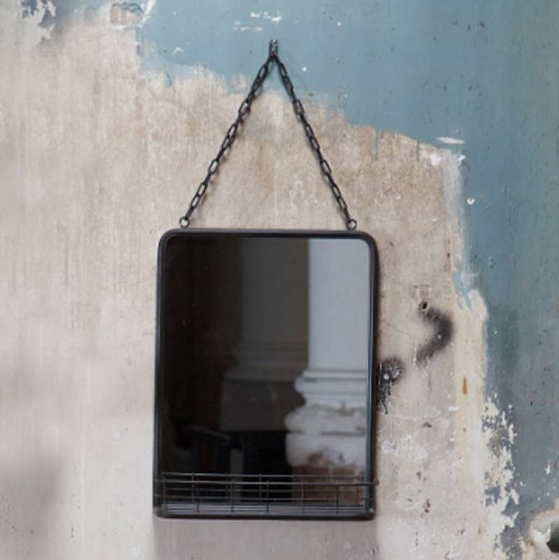 Words Black Metal Wall Hanging Mirror With Shelf