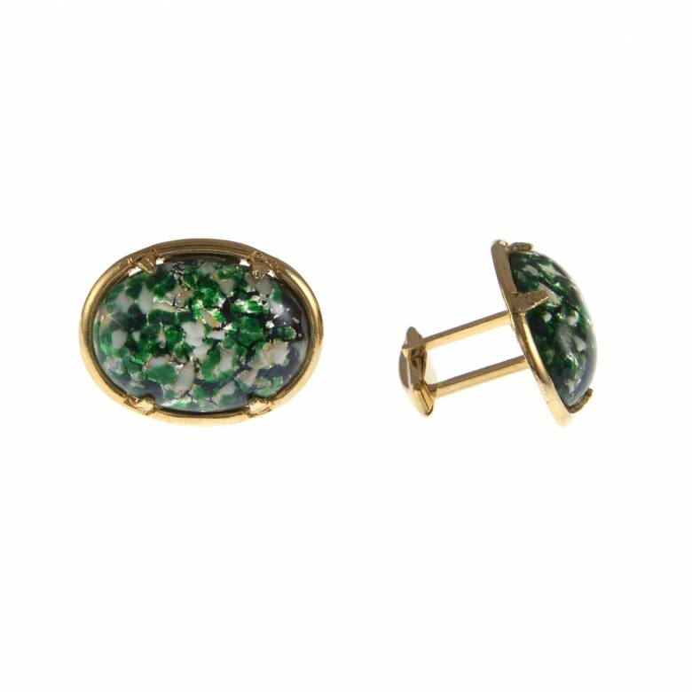 Vintage 1950s Oval Green Mottled Glass  Cufflinks