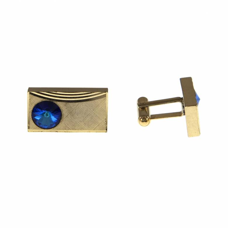 Vintage 1960s Rectangular Gold Plated Cufflinks With Blue Glass