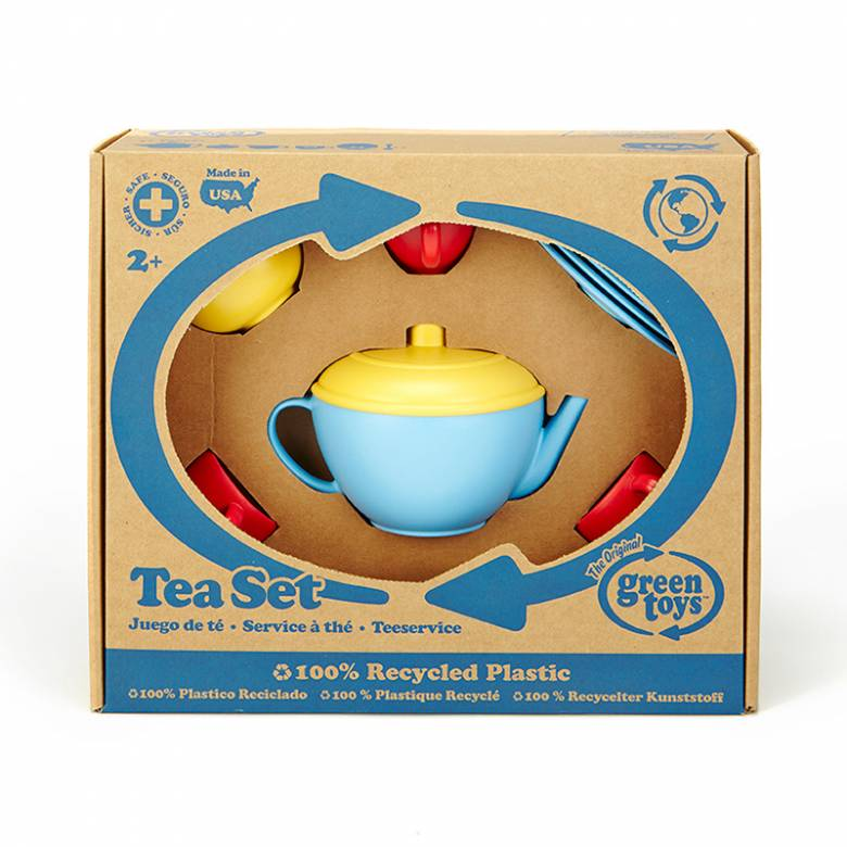 Tea Set With Blue Teapot By Green Toys 17 Pieces 2+