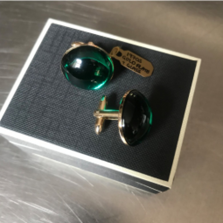 Vintage 1970s Green Glass Cufflinks