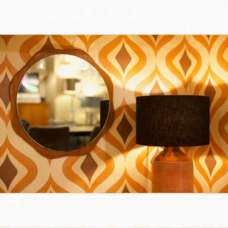 1960s Teak Flower Shaped Mirror