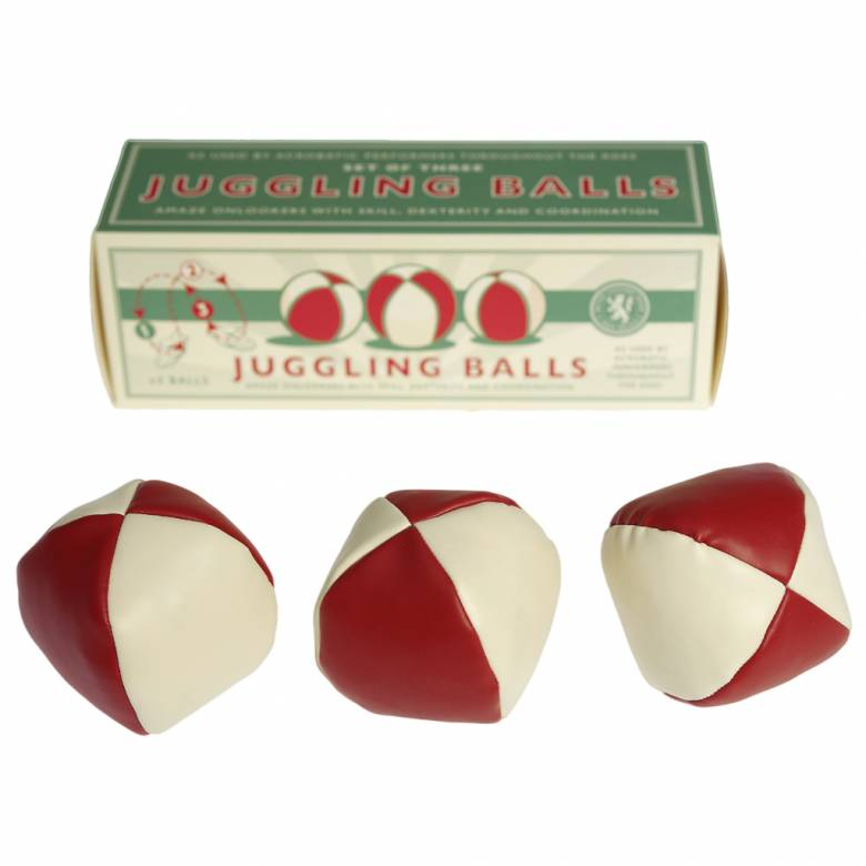 Set of 3 Juggling Balls In Green And White Retro Box