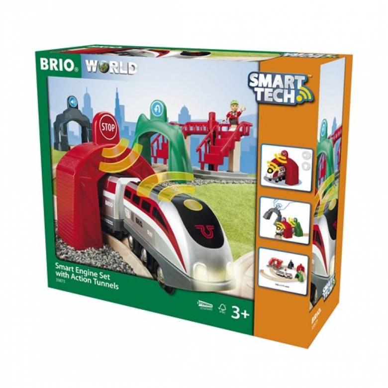 Smart Tech Engine Set + Action Tunnels BRIO® Wooden Railway 3+