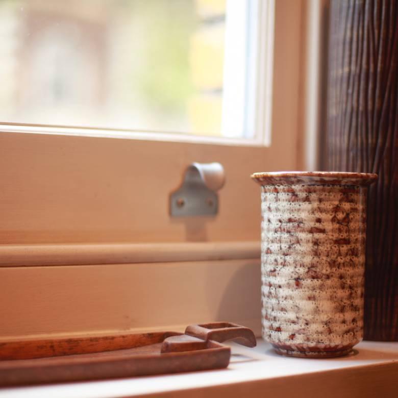 Orange & White Mottled Stoneware Vase H:14cm