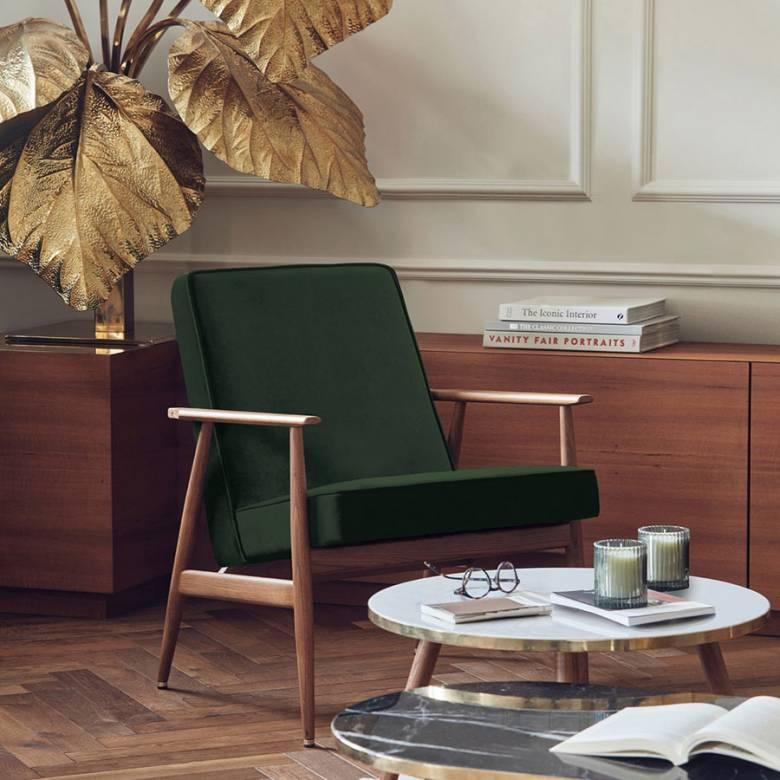 Fox Lounge Chair In Velvet Fabric