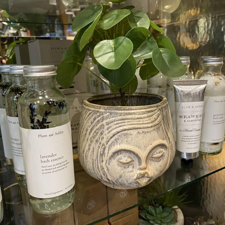 Cream Ceramic Face With Hair Flower Pot