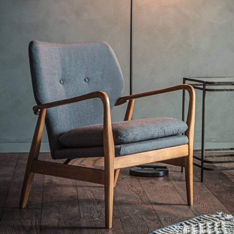 The Button - Armchair in Grey Fabric