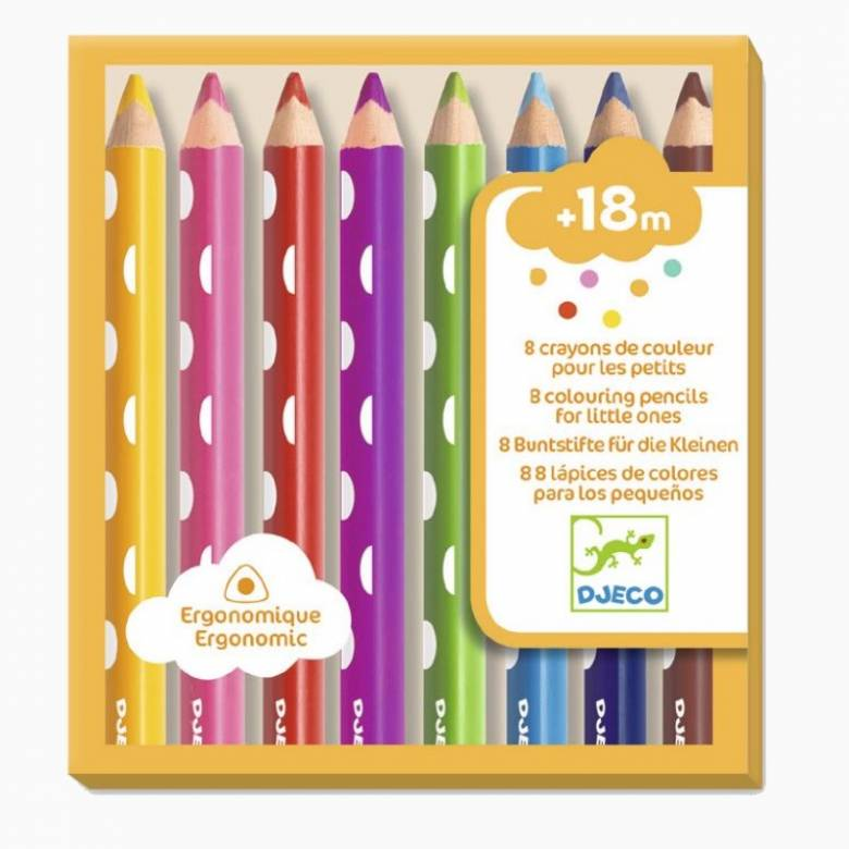 8 Colouring Pencils For Little Ones By Djeco 18m+