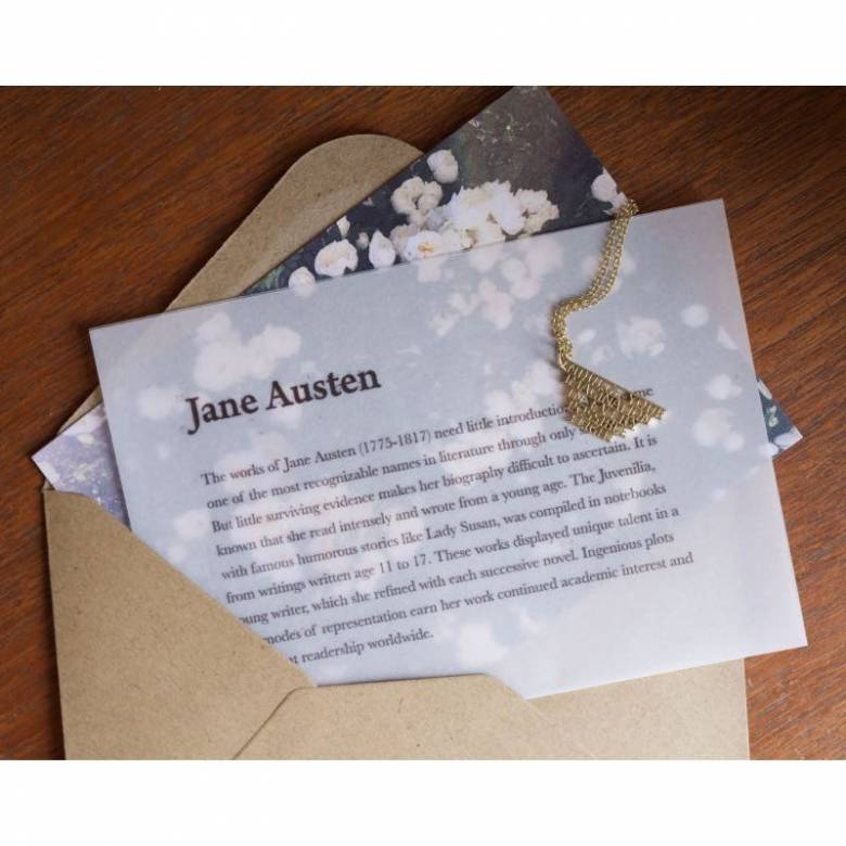 Jane Austen - Indulge Gold Quote Necklace By Ordbord