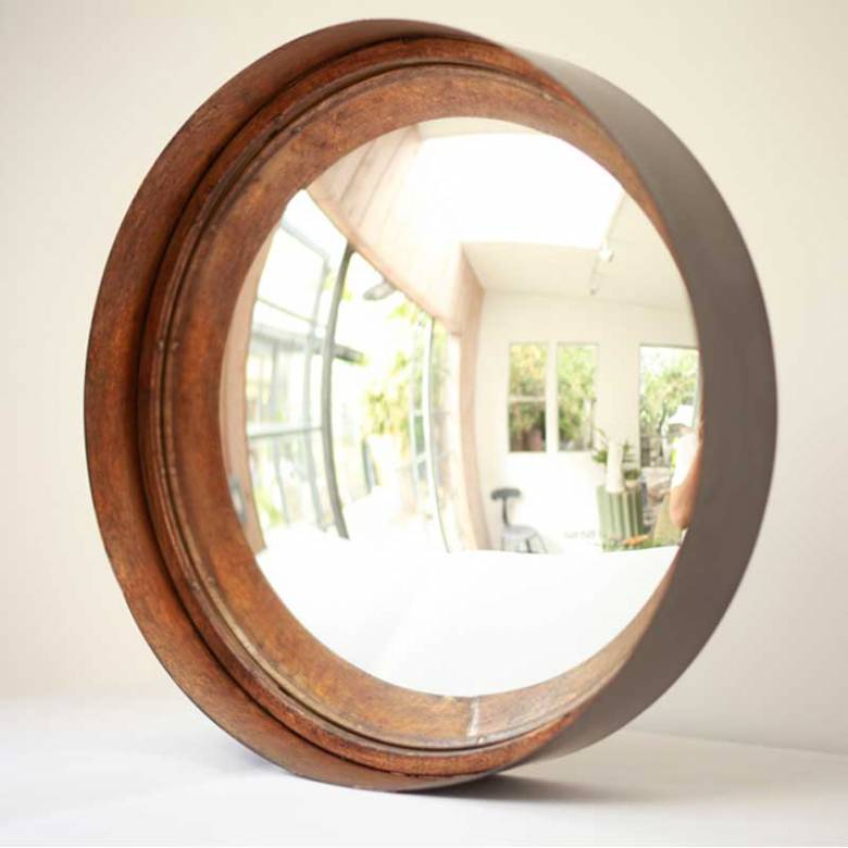 Black And Gold Metal Distressed Round Convex Mirror 31x7cm