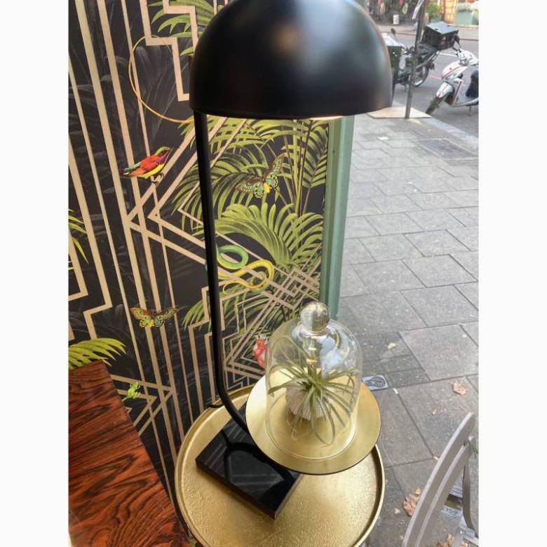 Black Metal Table Lamp With Gold Tray