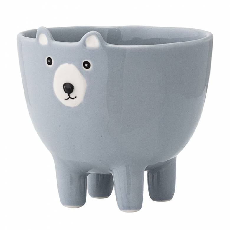 Blue Animal Face Stoneware Bowl On Legs