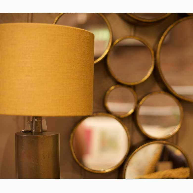 Bronzed Slim Table Lamp With Mustard Circular Shade