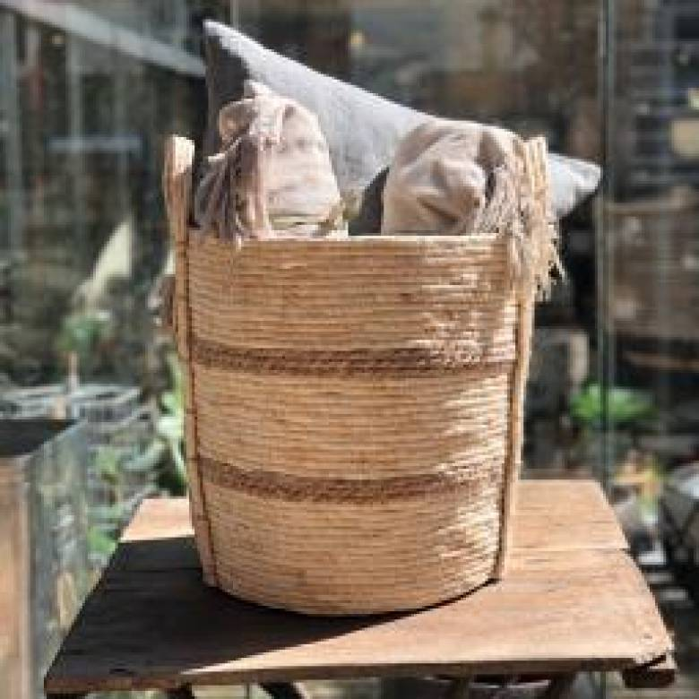 Large White Basket With Brown Stripes With Handles H: 40cm