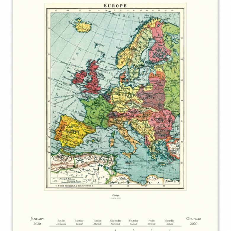 Vintage Maps Wall Calendar by Cavallini