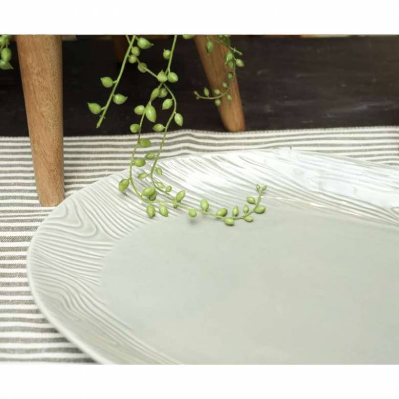 Ceramic Wood Effect Oval Platter In Grey