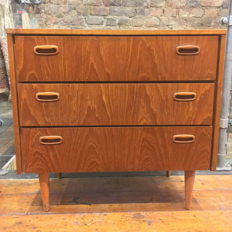1970s Teak Chest Of Drawers On Tapering Legs
