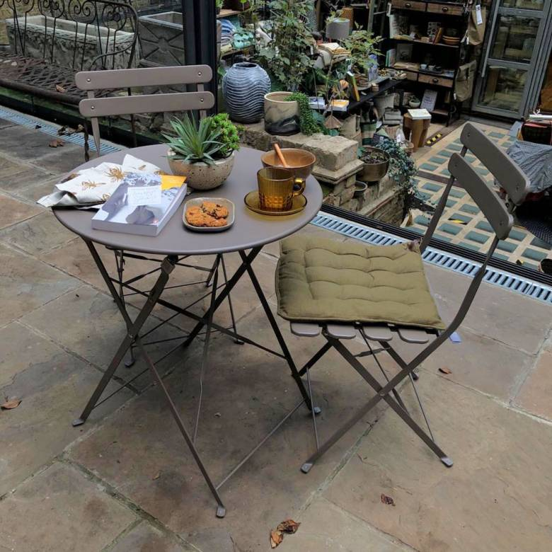 Matt Clay Bistro Set Of Table & Two Chairs