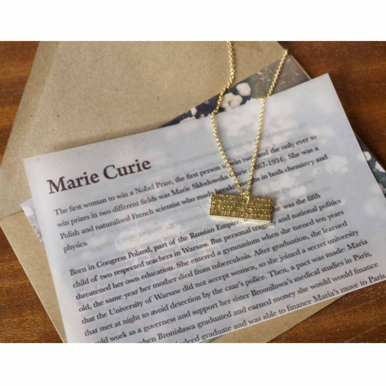 Marie Curie - Understood Gold Quote Necklace By Ordbord