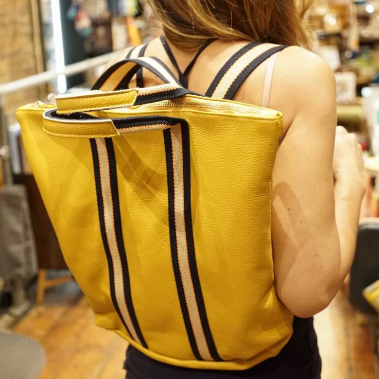 Leather Backpack With Canvas Straps And Handle In Mustard