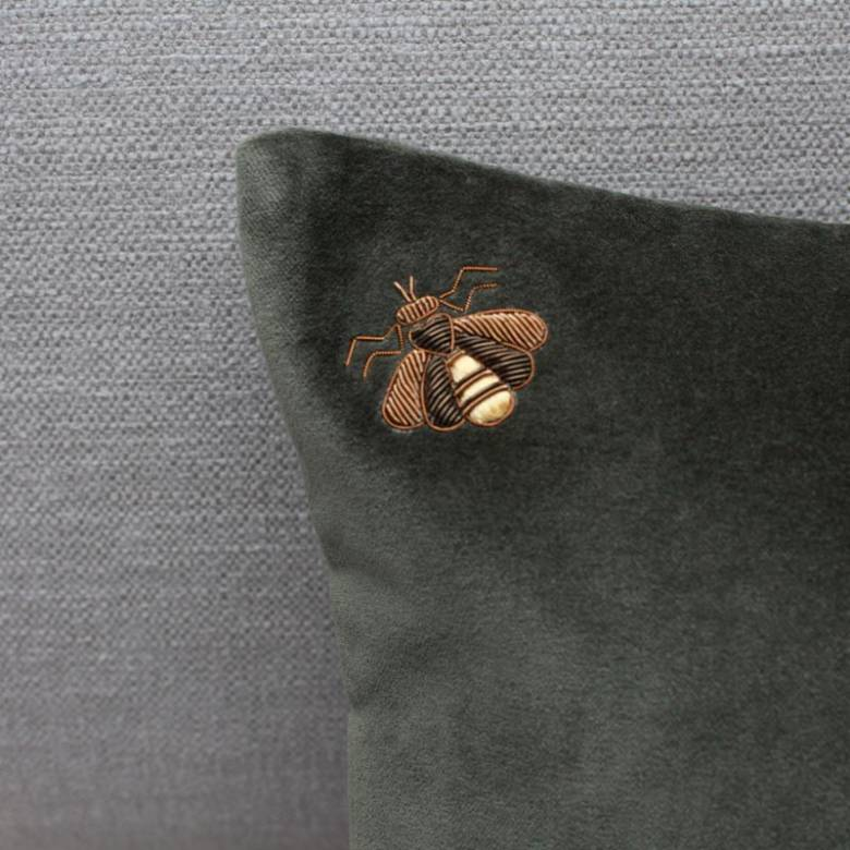 Dark Green Velvet Bee Cushion With Bee Embroidery